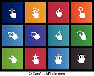 Trackpad Gestures Icons - Trackpad gesture icon series in...