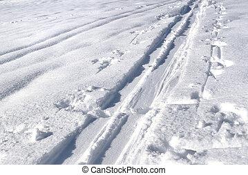tracks of ski touring on the snow