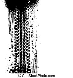 Tracks of tyre, tire print trace, bike drift tread