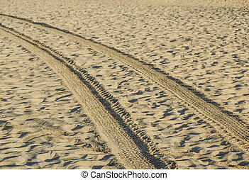 Tracks on the golden sand leading into the sea at sunset