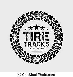 tracks., plano de fondo, gris, neumático, ilustración
