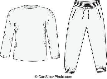 tracksuit, 밑그림, sweatpants., mockup, drawing., 것, set., 스타일...
