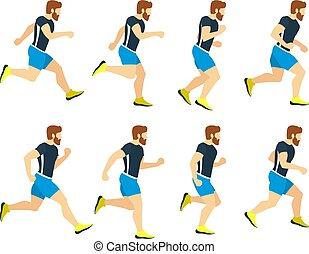 tracksuit., frames., atleta, aislar, joven, corriente, vector, ilustraciones, blanco, deporte, animación, hombre