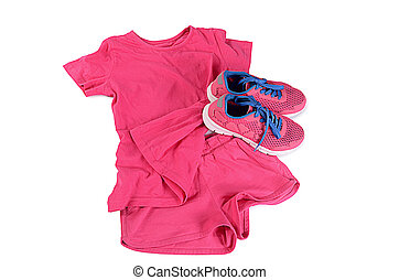 tracksuit, roze, kleur, vrijstaand, op wit