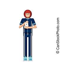 tracksuit, toques, mujer, aislado, ilustración, pantalla, atleta, pelo, mano, smartphone, rojo, europeo