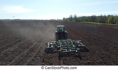 tracteur, coup, jour, aérien, cultivateur, été
