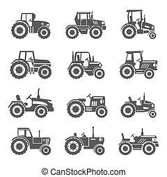 tracteur, icônes, vecteur