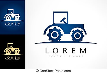 tracteur, logo, agricole, vecteur, voiture