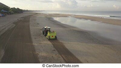 tracteur, nettoyage, plage