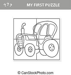 tracteur, préscolaire, jeu, education, puzzle, enfants
