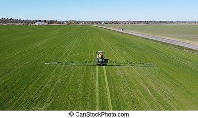 tracteur, pulvérisateur, coup, jour, aérien, champ, été
