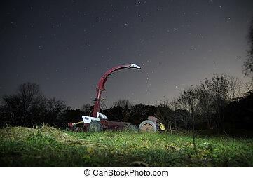 tracteur, sous, a, clair, étoilé, nuit, sky.
