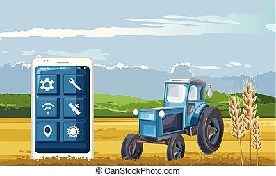 tracteur, téléphone, contrôlé, intelligent, bleu, app, champ