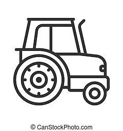 tracteur, vecteur, icône
