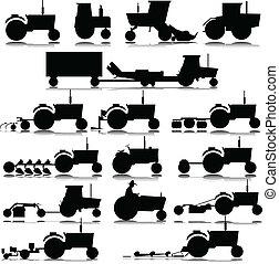 tracteur, vecteur, silhouettes