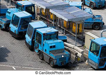 tracteurs, avion cargaison, maniement, bagages
