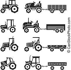 tracteurs, vecteur, ensemble, icônes