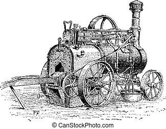 tractie, landbouwkundig, motor, gravure, ouderwetse