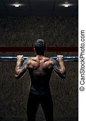traction, athlète, dos, musculaire, haut, mâle, vue