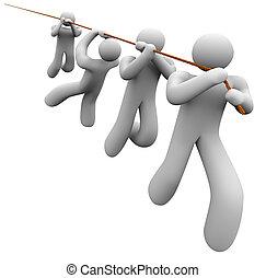 traction, corde, fonctionnement, collaboration, ensemble, équipe, coopération, employés
