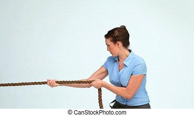 traction, corde, jeune, femme affaires