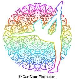 traction, dhanurasana, pose., debout, femmes, yoga, arc, dandayamana, silhouette.