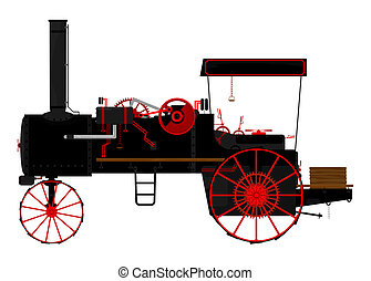 Traction engine - Silhouette of an old traction engine.
