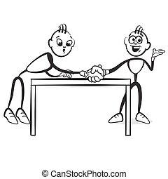 traction, figure, série, sur, -, émotions, crosse, table