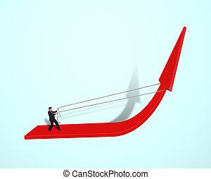traction, homme affaires, haut, flèche rouge