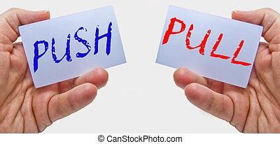 traction, maniement, cartes affaires, mots, mains, poussée, homme