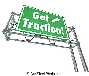 traction, obtenir, faire, m, signe, autoroute, vert, gain, progrès, route, terrestre