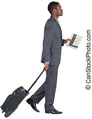 traction, sien, valise, homme affaires, jeune