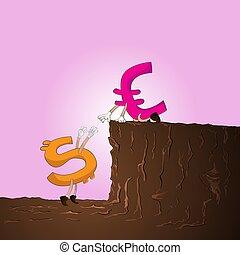 traction, usd, haut, vecteur, colline, euro