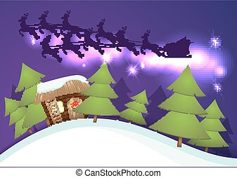 Bonhomme De Neige Rigolote Voler Père Noël Ciel Dessin