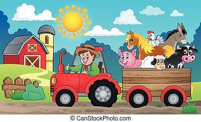 tractor, 3, tema, imagen