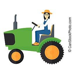 tractor., agricultor, dirigindo