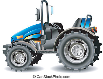 Tractor - Agricultural machine, tractor in dark blue color,...