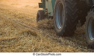 Tractor agriculture farming. Close up riding tractor.