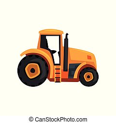 Tractor agriculture industrial farm equipment vector Illustration on a white background