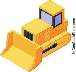 tractor, amarillo, isométrico, excavadora, icono, estilo