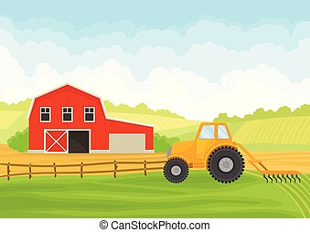 Tractor and barn in the field. Vector illustration on white background.