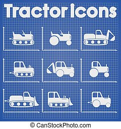 Tractor and Construction Icon set
