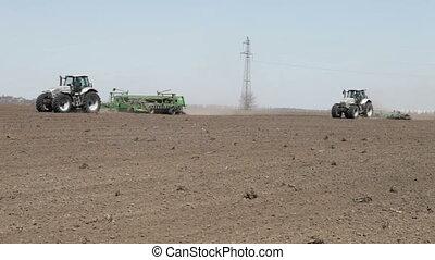 tractor and seeder machine - SMELA, CHERKASSKAYA/UKRAINE -...