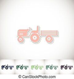 Tractor and small trailer. Flat sticker with shadow on white background
