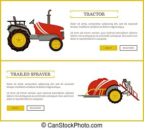 Tractor and Trailed Sprayer Vector Illustration - Tractor...