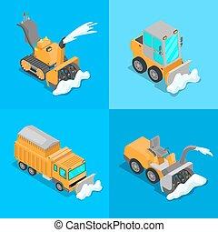 tractor., apartamento, isometric, jogo, transporte, snowplow, neve, ilustração, remoção, vetorial, caminhão, 3d