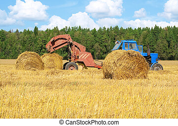 Tractor at work in field
