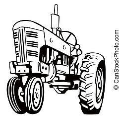 Tractor Black and White - Illustration of a tractor in black...