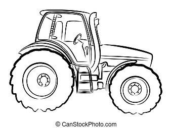tractor., bosquejo, grande