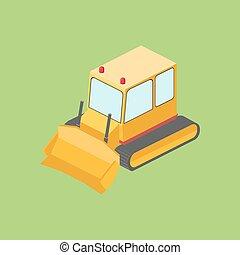 Tractor bulldozer isometric vector illustration